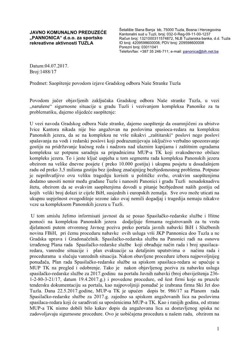 JKP Pannonica doo Tuzla Saopštenje za javnost 4.7.2017._1