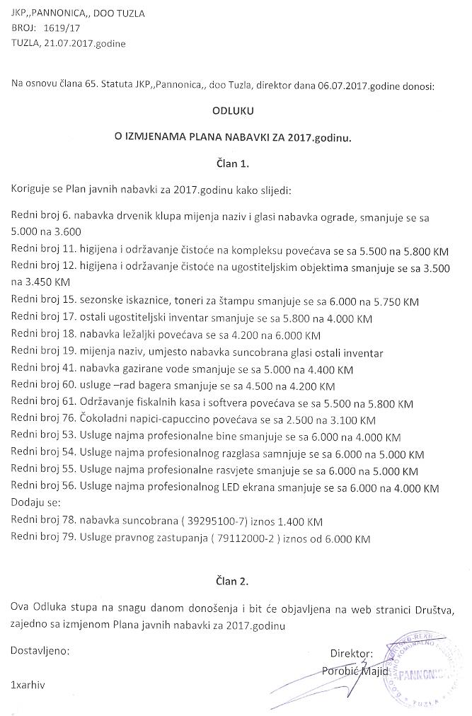 Odluka Izmjenjeni Plan JN 21.7.2017