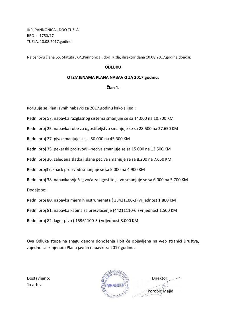 Odluka Izmjenjeni Plan JN 108.2017