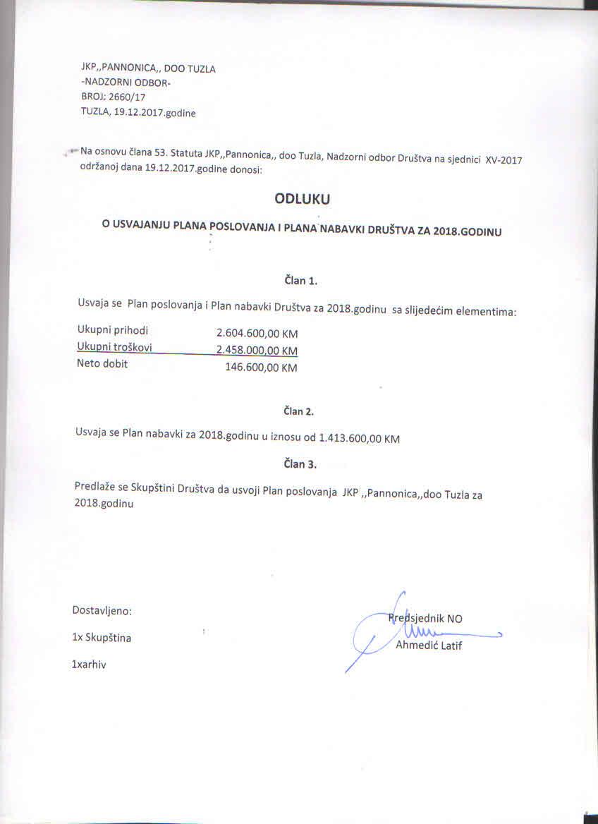 Odluka o usvajanju Plana JN 2018