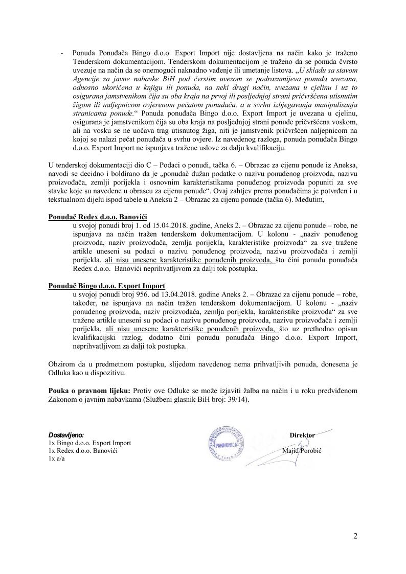 Odluka o poništenju prehrambeni859-18_2