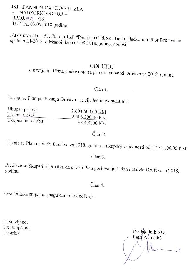 Odluka o izmjenama Plana javnih nabavki Društva za 2018. godinu